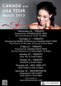 USA Canada tour 2013 poster